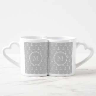 Gray White Anchors Pattern, Your Monogram Lovers Mug Set