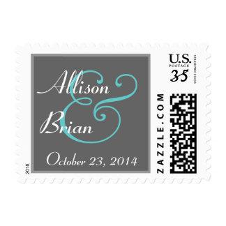 Gray White and Aqua Wedding Stamp Small
