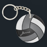 "Gray, White and Black Volleyball Design Keychain<br><div class=""desc"">Volleyball Keychain.100% Customizable. (Note: 99% of my designs in my store have graphic layers you can move, resize and/or delete) Ready to Fill in the box(es) or Click on the CUSTOMIZE button to add, move, delete, resize or change any of the font or graphics. Made with high resolution vector and/or...</div>"