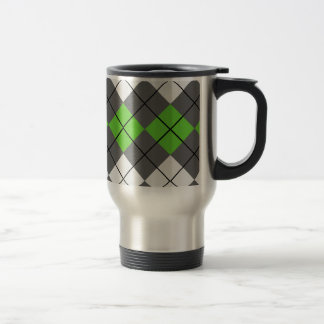 Gray White and Green Argyle Travel Mug