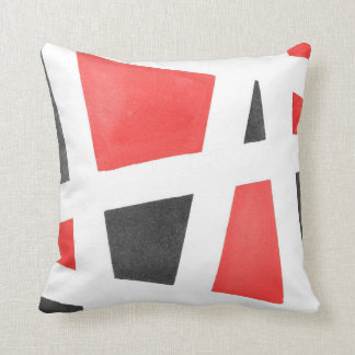 Gray White and Red Geometric Watercolor Throw Pillow