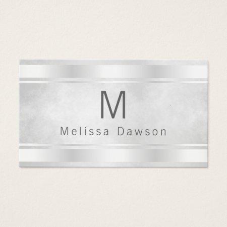 Elegant Feminine White Silver and  Gray Simplistic Minimal Professional Monogram Feminine Accountant Business Cards