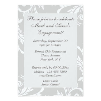 "Gray white anniversary engagement PERSONALIZE 5"" X 7"" Invitation Card"