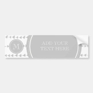 Gray White Aztec Arrows Monogram Bumper Sticker