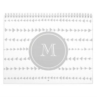 Gray White Aztec Arrows Monogram Calendar