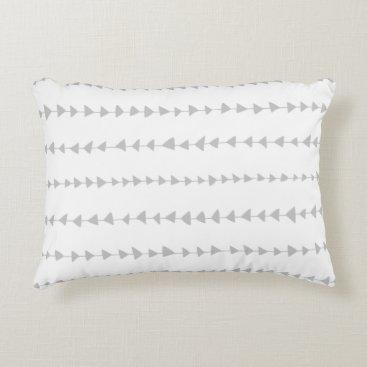 Aztec Themed Gray White Aztec Arrows Pattern Accent Pillow