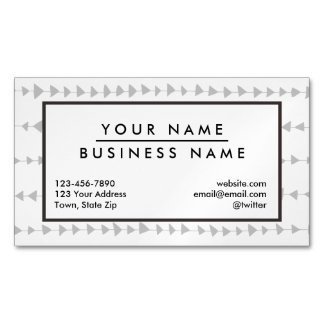Gray White Aztec Arrows Pattern Business Card Magnet