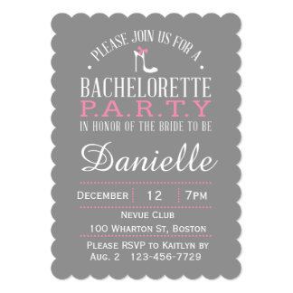 Gray & White Bachelorette Party Pink High Heel Card