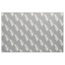Gray white Bamboo stalks oriental pattern fabric