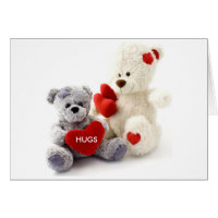Gray & White Bear with Heart Card