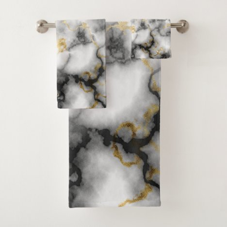 Gray White Black and Gold Marble Pattern Bath Towel Set