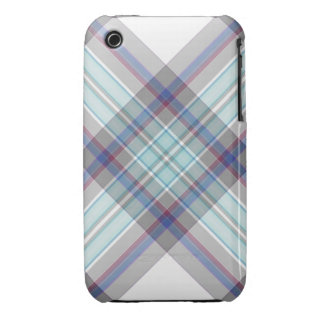 Gray, white, blue, red and green tartan iPhone 3 case