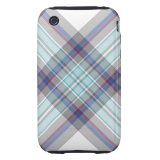 Gray, white, blue, red and green tartan iPhone 3 tough case