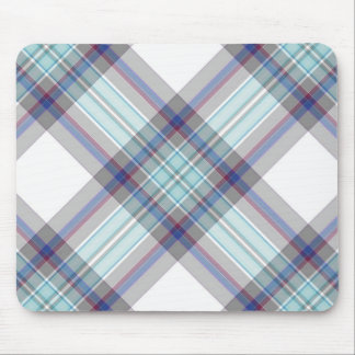 Gray, white, blue, red and green tartan mouse pad