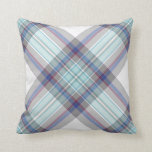 Gray, white, blue, red and green tartan pillows