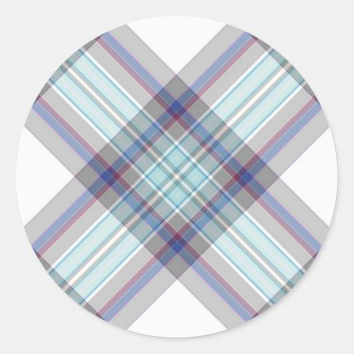 Gray, white, blue, red and green tartan round sticker