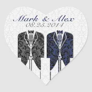 Gray White & Blue Same-Sex Couples Wedding Design Heart Sticker