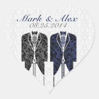 Gray White & Blue Same-Sex Couples Wedding Design Heart Sticker