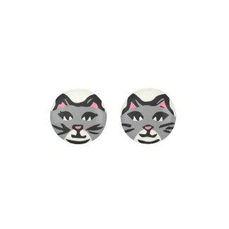 GRAY & WHITE CAT, Pink Ears & Black Whiskers Earrings
