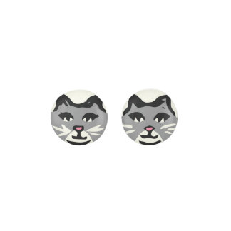 GRAY & WHITE CAT With White Whiskers Earrings