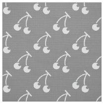 Gray white cherries pattern fabric