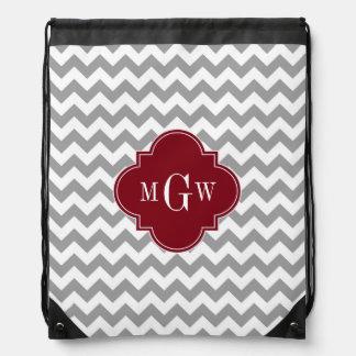 Gray White Chevron Burgundy Quatrefoil 3 Monogram Drawstring Backpack