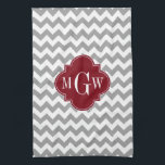 """Gray White Chevron Burgundy Quatrefoil 3 Monogram Kitchen Towel<br><div class=""""desc"""">Gray and White Chevron ZigZag Pattern, Burgundy Quatrefoil 3 Initial Monogram Customize this with a three initial monogram or change the design to add your name or other text. You can also change the font, adjust font size and font color, move the text, add additional text fields, etc. Please note...</div>"""