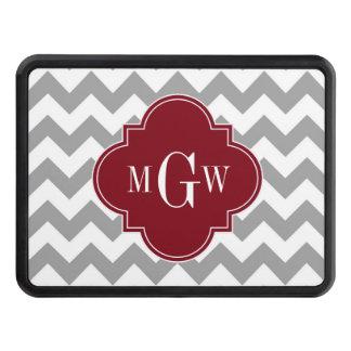 Gray White Chevron Burgundy Quatrefoil 3 Monogram Tow Hitch Covers