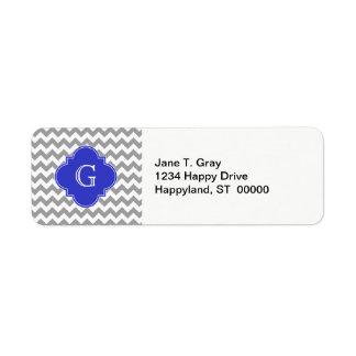 Gray White Chevron Cobalt Blue Quatrefoil Monogram Label