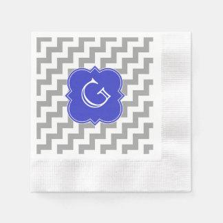 Gray White Chevron Cobalt Blue Quatrefoil Monogram Coined Cocktail Napkin
