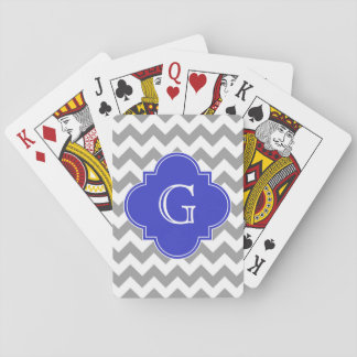 Gray White Chevron Cobalt Blue Quatrefoil Monogram Playing Cards