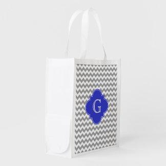 Gray White Chevron Cobalt Blue Quatrefoil Monogram Reusable Grocery Bag