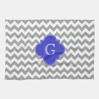 Gray White Chevron Cobalt Blue Quatrefoil Monogram Towels