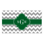 Gray White Chevron Emerald Quatrefoil 3 Monogram Double-Sided Standard Business Cards (Pack Of 100)
