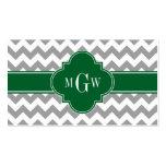 Gray White Chevron Emerald Quatrefoil 3 Monogram Double-Sided Standard Business Cards (Pack Of 100)