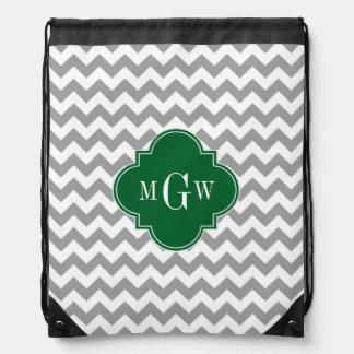 Gray White Chevron Emerald Quatrefoil 3 Monogram Drawstring Bag