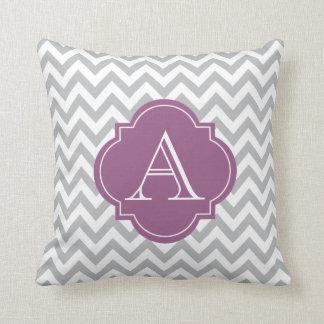 Gray & White Chevron Light Purple Monogram Pillow