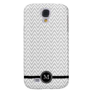 Gray white chevron monogram iphone 3 case