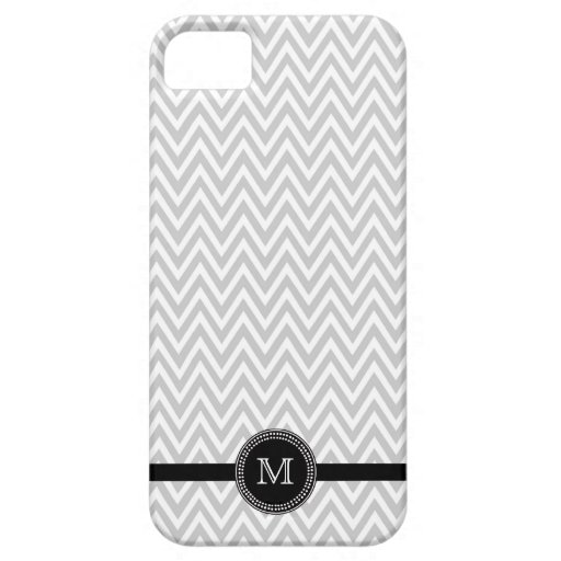 Gray white chevron monogram iphone 5 case