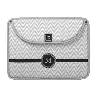 Gray white chevron monogram macbook pro sleeve