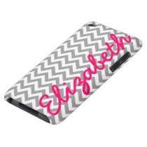 Gray White Chevron Pattern Barely There iPod Case