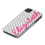 Gray White Chevron Pattern iPhone 4 Case-Mate Cases