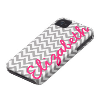 Gray White Chevron Pattern Case-Mate iPhone 4 Case