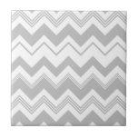 Gray White Chevron Pattern Ceramic Tiles