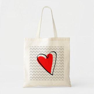Gray White Chevron Pattern Cute Red Heart Tote Bag