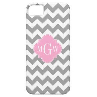 Gray White Chevron Pink Quatrefoil 3 Monogram iPhone SE/5/5s Case