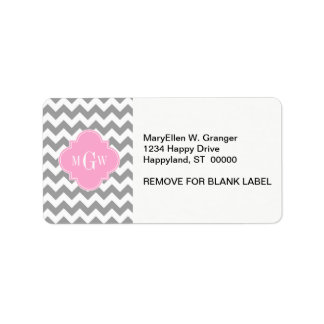 Gray White Chevron Pink Quatrefoil 3 Monogram Label