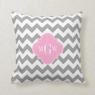 Gray White Chevron Pink Quatrefoil 3 Monogram Throw Pillow