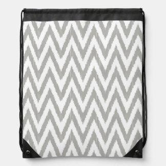 Gray & White Chevron Drawstring Bag