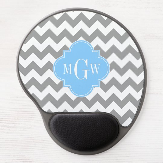 Gray White Chevron Sky Blue Quatrefoil 3 Monogram Gel Mouse Pad